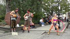 Street performers at French Market Place slow motion p1 Stock Footage