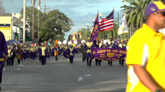 St Augustine High School Marching band Endymion 2014 - stock footage