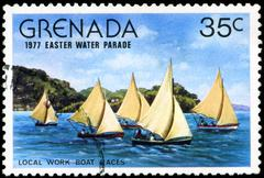 grenada - circa 1977: a stamp printed in grenada issued for the easter water  - stock photo