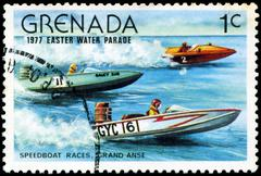 Grenada - circa 1977: a stamp printed in grenada issued for the easter water  Stock Photos