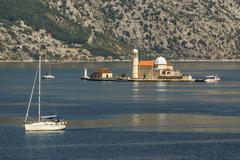 island church in perast kotor bay montenegro - stock photo