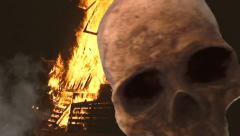 Skull fire smoke scary horror Stock Footage