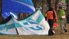 Paragliders and Kiters Prepare to fly Stock Footage