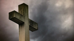 Cross on the cemetery. Stock Footage