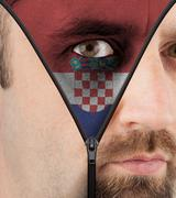 unzipping face to flag of croatia - stock illustration