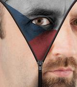 unzipping face to flag of czech republic - stock illustration