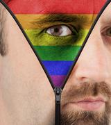 unzipping face to rainbow flag - stock illustration