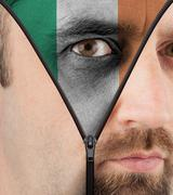 unzipping face to flag of ireland - stock illustration