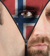 unzipping face to flag of norway - stock illustration