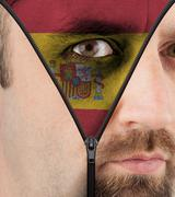 unzipping face to flag of spain - stock illustration