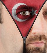 unzipping face to flag of turkey - stock illustration