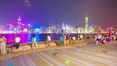 4k hyperlapse video of Tsim Sha Tsui Promenade in Hong Kong Stock Footage