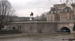 Paris - France - Seine River / Pont Neuf Bridge - HD Stock Footage