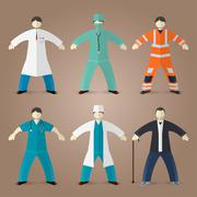 Professions set of medical doctors - stock illustration
