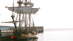 Antique pirate sail ship Stock Footage