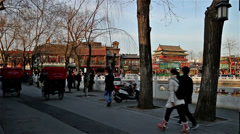Stock Video Footage of The visitors roam along famous Houhai bar street