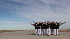 "Silent Drill Platoon and Blue Angels ""Fat Albert"" - stock footage"