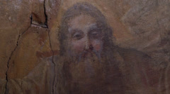 Old icons of Jesus in the Orthodox Church Stock Footage
