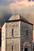 san giovanni baptistery, volterra - stock photo