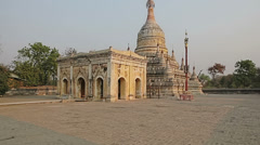 Ancient white pagoda in Bagan Stock Footage