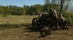 German cannon fires at Russian tank 4 - stock footage