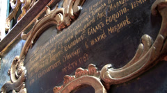 Old inscription in the Orthodox Church Stock Footage