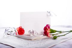 blank card with flowers hi key - stock photo
