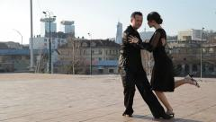 Professional dancers dancing  in the street of Sarajevo, Bosnia and Herzegovina Stock Footage