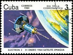 cuba circa 1984: stamp printed by cuba, shows cosmonautics day - electron-2 s - stock photo