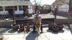 Old rural craft basket weaving Stock Footage