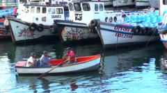 0485 Boats in the harbor of Valparaiso Stock Footage