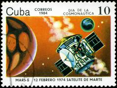 Stock Photo of cuba - circa 1984: stamp printed by cuba, shows cosmonautics day - february 1