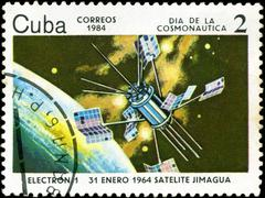 cuba circa 1984: stamp printed by cuba, shows cosmonautics day - electron-1 s - stock photo
