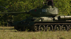 German cannon fires at Russian tank 6 Stock Footage