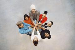 happy young students showing unity as a team - stock photo