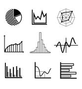 set of black and white graphs and charts - stock illustration