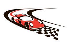 Ylinopeus kilpa-auto ylittäessään maaliviivan Piirros