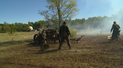 German cannon fires at Russian tank 5 Stock Footage
