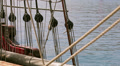 Ropes - Antique pirate sail ship HD Footage