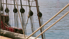 Ropes - Antique pirate sail ship Stock Footage