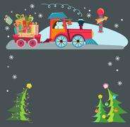 christmas train - stock illustration
