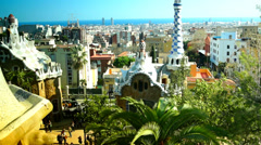 Amazing Guell Park,tilt with panoramic view in background Barcelona, Spain Stock Footage