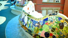 Amazing Guell Park in Barcelona, Spain Stock Footage