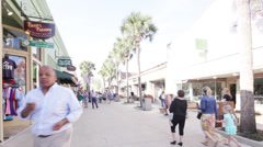 Time lapse tourists walking the shops at St. Augustine Stock Footage