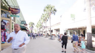 Stock Video Footage of Time lapse tourists walking the shops at St. Augustine