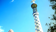 Stock Video Footage of Mosaic Towers By Gaudi At Park Guell In Barcelona