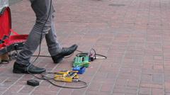 Sidewalk Busker Guitarist Shredding A Solo Stock Footage