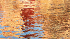Water motion ripple effect reflection Norwegian houses Stock Footage