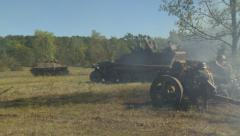 German cannon blast 5 armored infantry moves Stock Footage