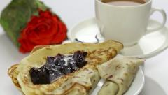 Breakfast with pancake and roses HD Stock Footage